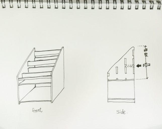 子供用本棚 設計図