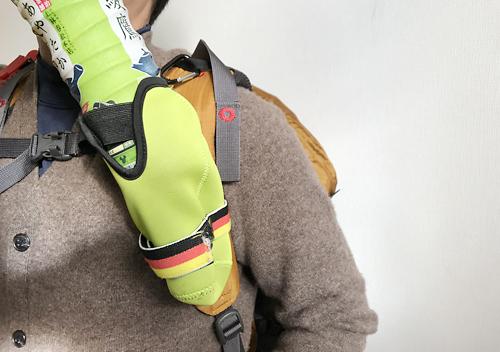 ダイソーのドリンクホルダを登山リュックの肩紐に固定してみました