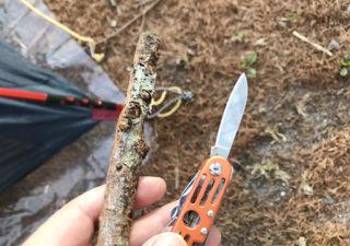 【ブッシュクラフト/小枝ペグ】テントのペグ忘れた!枝を削って代用します。