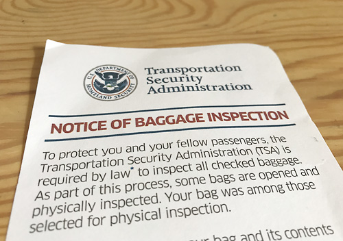 TSA税関審査_なぞの手紙