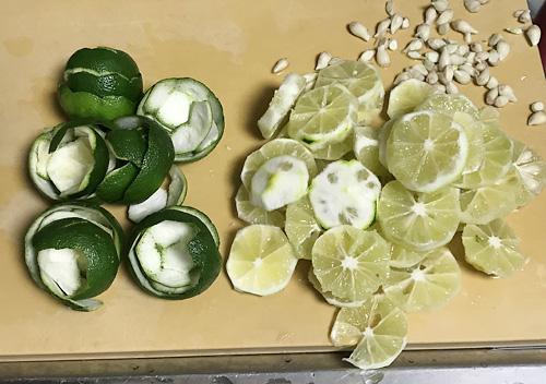 カボスの収穫_氷砂糖でシロップの作り方