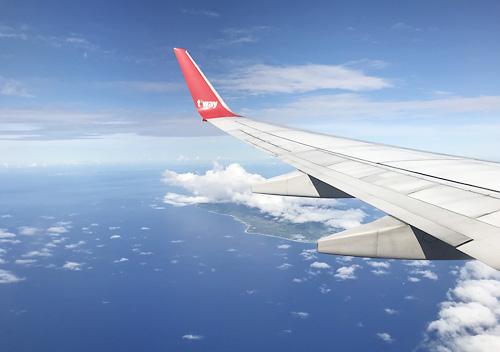 グアム家族旅行_ティーウェイ航空機体機内の様子と食事