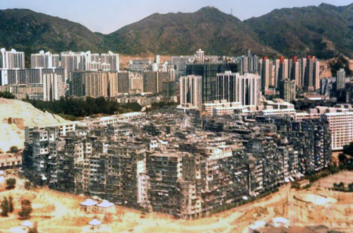 Kowloon Walled City, Hong Kong, photographed from an airplane