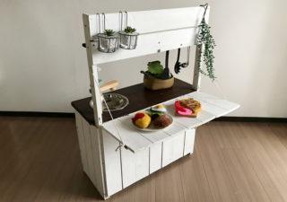【簡単DIY】木製ラックを再利用して「ままごとキッチン」を手作り。