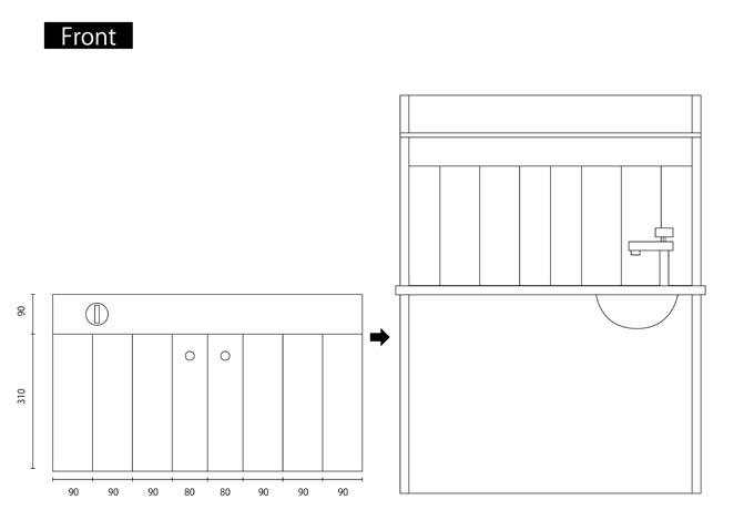 ままごとキッチンの作り方(設計図)front