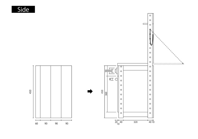 ままごとキッチンの作り方(設計図)side