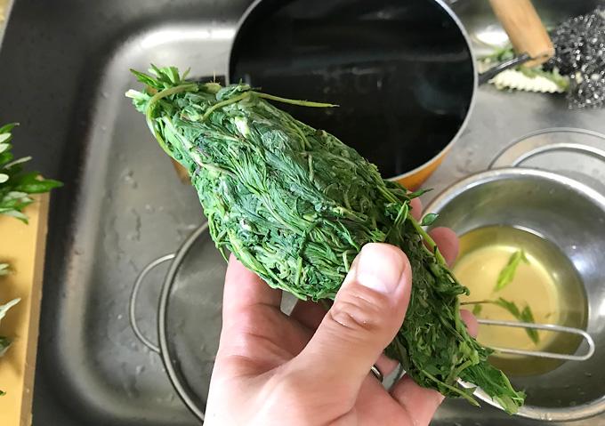 白玉粉で蓬餅・レシピ作り方