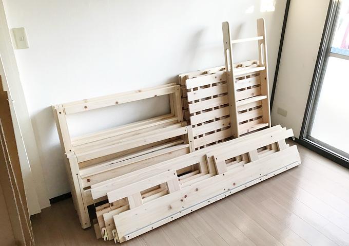 KUSKUSU(クスクス)【無垢材2段ベッドのレビュー】配送内容、パーツはこれだけなので組み立ては簡単。