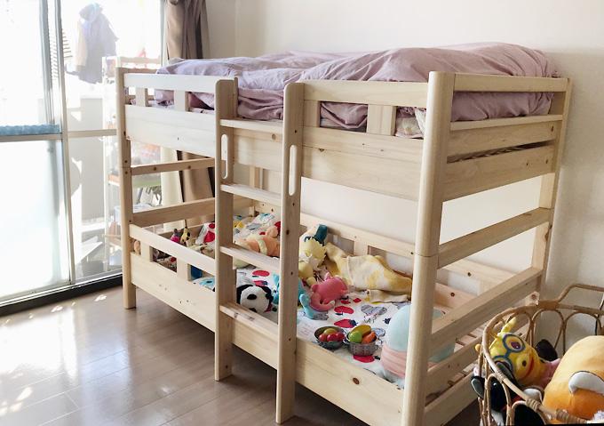 KUSKUSU(クスクス)【無垢材2段ベッドのインプレ】仕上げ(面取り)が綺麗。角が丸い!節処理も綺麗。