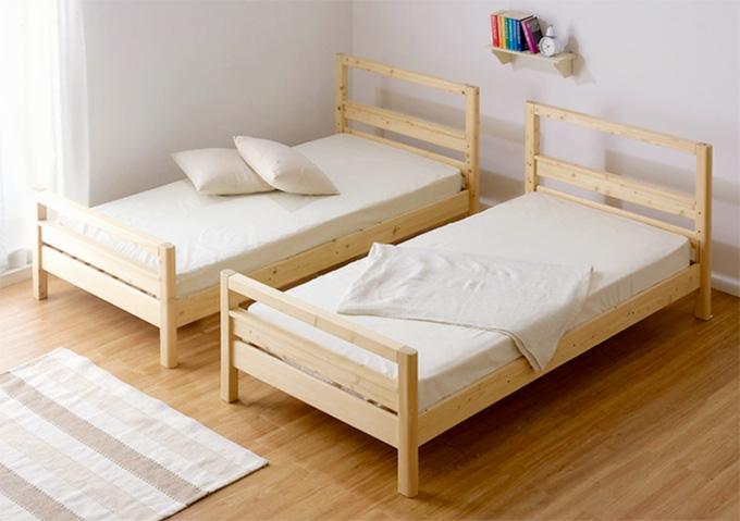 KUSKUSU(クスクス)【木製2段ベッドのレビュー】分割/綺麗。角が丸い!節処理も綺麗。